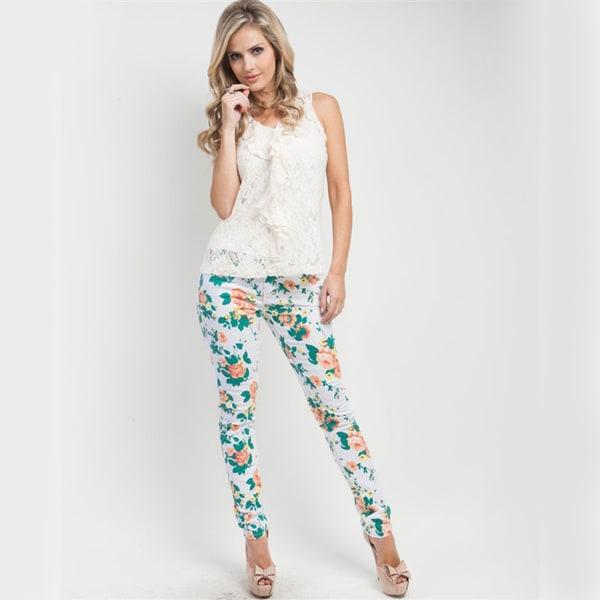 Stanzino Junior's Bright Rose Print Skinny Jeans