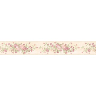 Brewster Mauve Rose Border Wallpaper