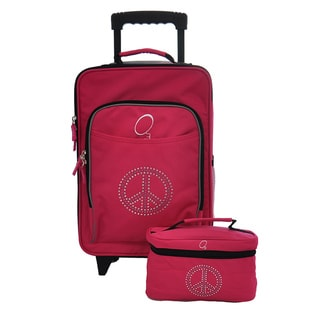 O3 Kids Bling Rhinestone Peace Luggage and Toiletry Bag Set