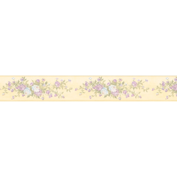 Brewster Pastel Rose Border Wallpaper