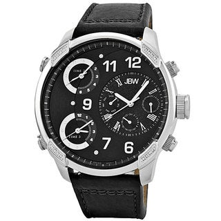 JBW Men's 'G4' Multi Time Zone Black Strap Lifestyle Diamond Watch