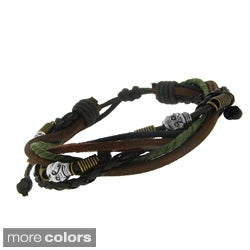 Moise Leather and Brass Skull Bead Multi-layered Cord Bracelet