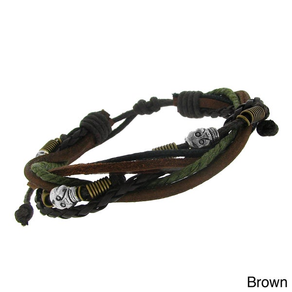 Leather and Brass Skull Bead Multi-layered Cord Bracelet