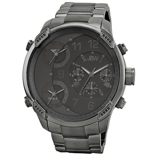 JBW Men's 'G4' Multi Time Zone Black Lifestyle Diamond Watch