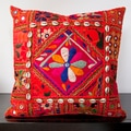 Calista Orange Embroidered 22x22-inch Decorative Pillow