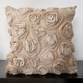 Caimile Beige Rosette 18x18-inch Knife Edge Decorative Pillow