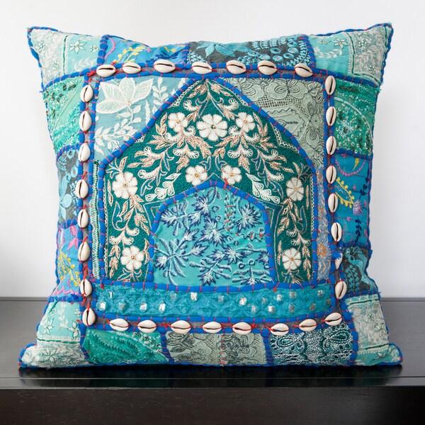 Caley Blue Sari Patchwork 18x18-inch Decorative Pillow