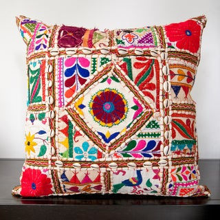 Cala Red Embroidered 22x22-inch Decorative Pillow