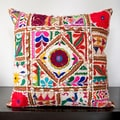 Cala Red Embroidered 18x18-inch Decorative Pillow