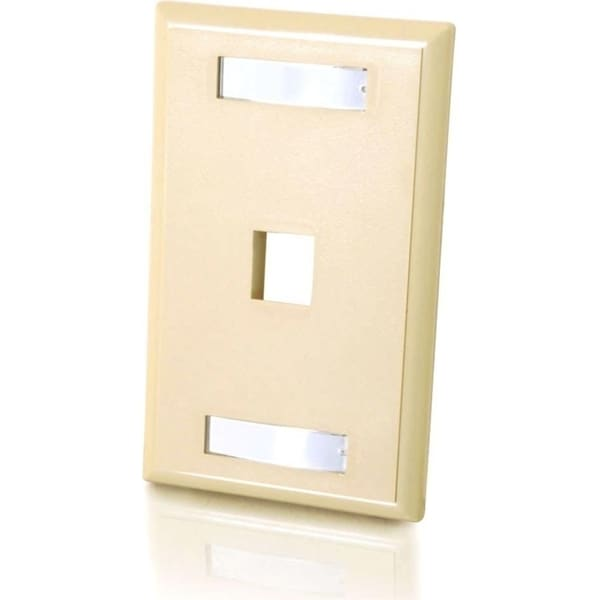 C2G 1-Port Single Gang Multimedia Keystone Wall Plate - Ivory