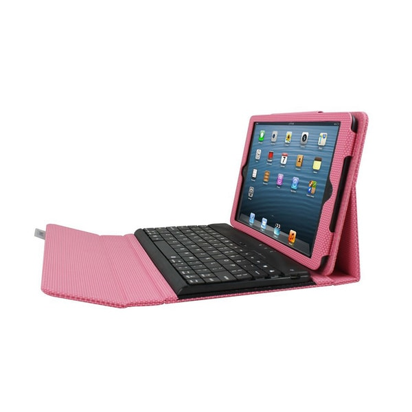 iPad mini Case with Detachable Bluetooth Keyboard - Pink Via Ergoguys