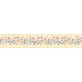 Brewster Pastel Flower Border Wallpaper