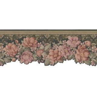 Brewster Mauve Floral Border Wallpaper