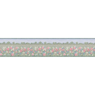 Brewster Green Meadow Border Wallpaper