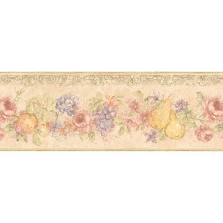 Brewster Beige Fruit Floral Border Wallpaper