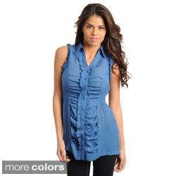 Stanzino Women's Sleeveless Button-down Ruffle Detail Top