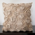 Caimile Beige Rosette 18x18-inch Decorative Down Pillow