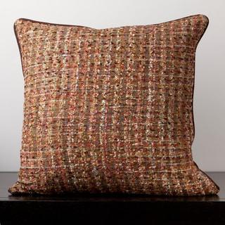 Ava Chocolate Tweed 22x22-inch Decorative Down Pillow