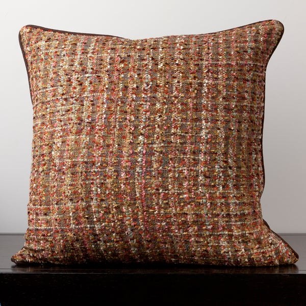 Overstock Decorative Throw Pillows : Ava Chocolate Tweed 22x22-inch Decorative Down Pillow