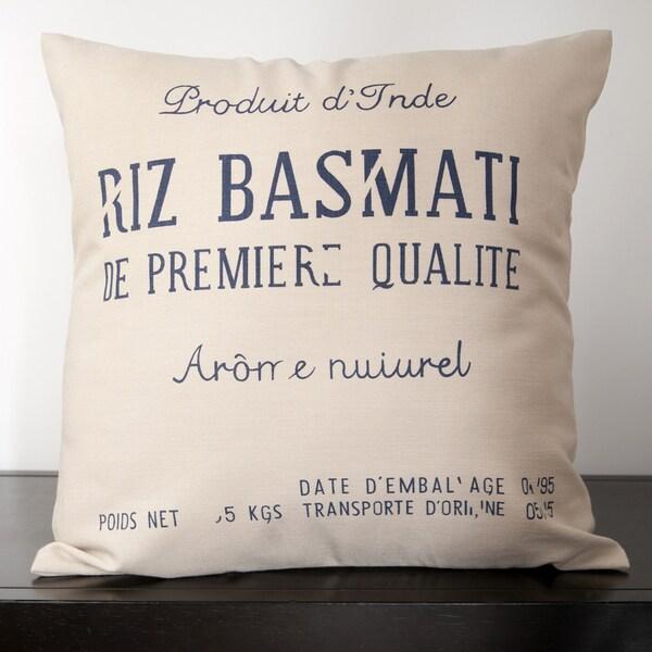 Chloe Natural Burlap Novelty 22x22-inch Decorative Down Pillow