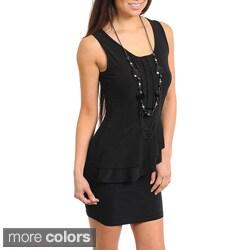 Stanzino Women's Sleeveless Peplum Dress with Necklace