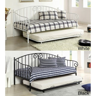 Traditional Link Spring Wrought Iron Style Daybed with Trundle