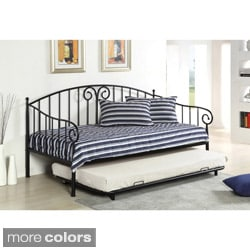 Furniture of America Traditional Link Spring Wrought Iron Style Daybed with Trundle