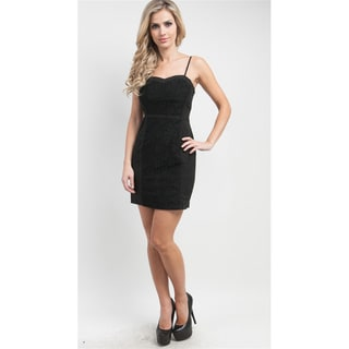 Stanzino Women's Black Lace Front Sleeveless Dress
