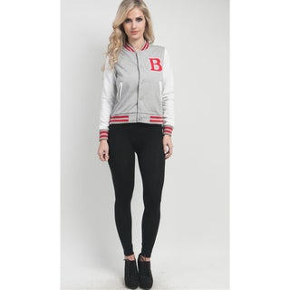 Stanzino Women's Grey Varsity Initial Snap Button Jacket