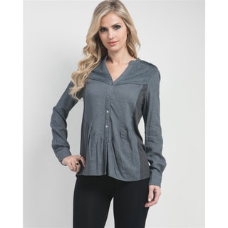 Stanzino Women's Grey Button-up Long Sleeve Shirt