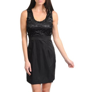 Stanzino Women's Black Sleeveless Empire Waist Mini Dress