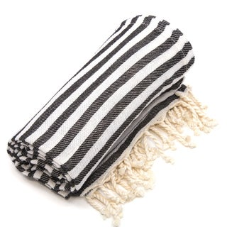 Authentic Pestemal Fouta Charcoal Black Turkish Cotton Beach Towel