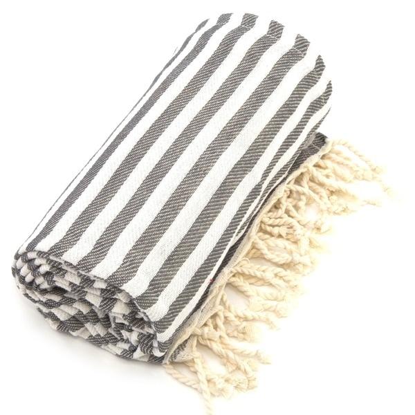 Authentic Pestemal Fouta Graphite Grey Turkish Cotton Bath/ Beach Towel
