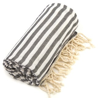 Authentic Pestemal Fouta Graphite Grey Turkish Cotton Beach Towel