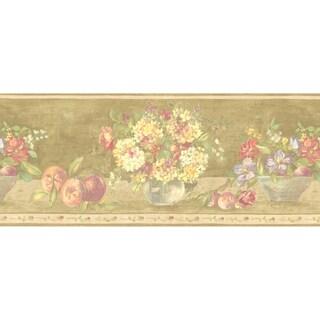 Brewster Olive Fruit Floral Border Wallpaper