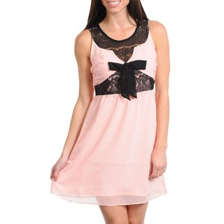 Stanzino Women's Peach Lace Inset Sleeveless Dress