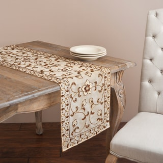 Saro Hand-beaded Champagne Floral Table Linen