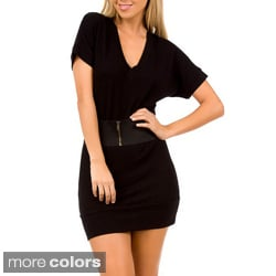 Stanzino Women's Solid Cap Sleeve Belted Dress