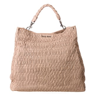 Miu Miu 'Cloquet' Nappa Leather Ruched Tote Bag