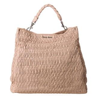 Miu Miu 'Cloquet' Nappa Leather Ruched Tote Bag