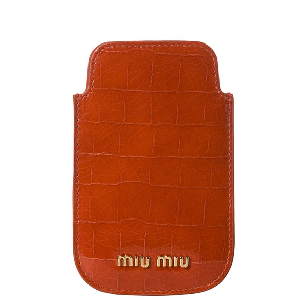 Miu Miu 'St. Cocco' Lux Croc Embossed iPhone Case