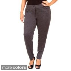 Stanzino Women's Plus Size Straight Leg Knit Pants