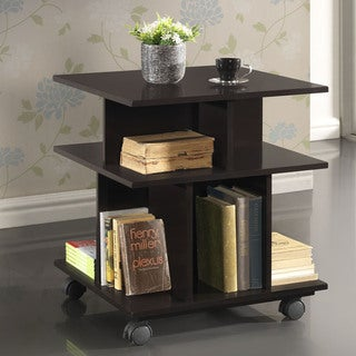 Baxton Studio Warren Dark Brown Wheeled Modern Storage Shelf