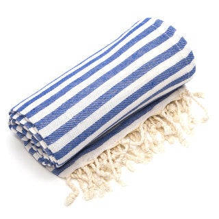 Authentic Pestemal Fouta True Blue Turkish Cotton Bath and Beach Towel