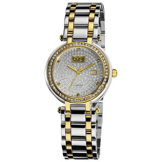 Burgi Women's Stainless Steel Pave Pattern Diamond Bracelet Watch