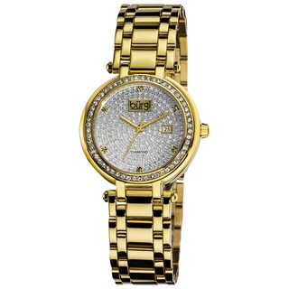 Burgi Women's Gold-Tone Stainless Steel Pave Pattern Diamond Bracelet Watch