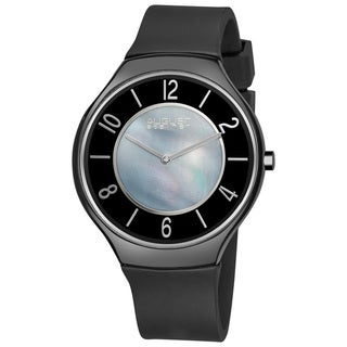 August Steiner Men's Slim Ceramic Mother-of-Pearl Quartz Rubber-Strap Watch
