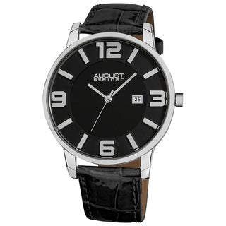 August Steiner Men's Slim Swiss Quartz Date Black Genuine Leather Strap Watch