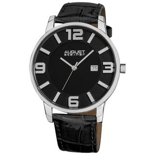 August Steiner Men's Slim Swiss Quartz Date Black Genuine Leather Strap Watch