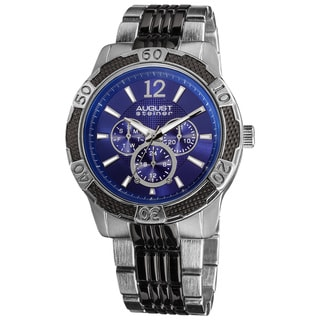 August Steiner Men's Quartz Sport Multifunction Blue-Dial Bracelet Watch